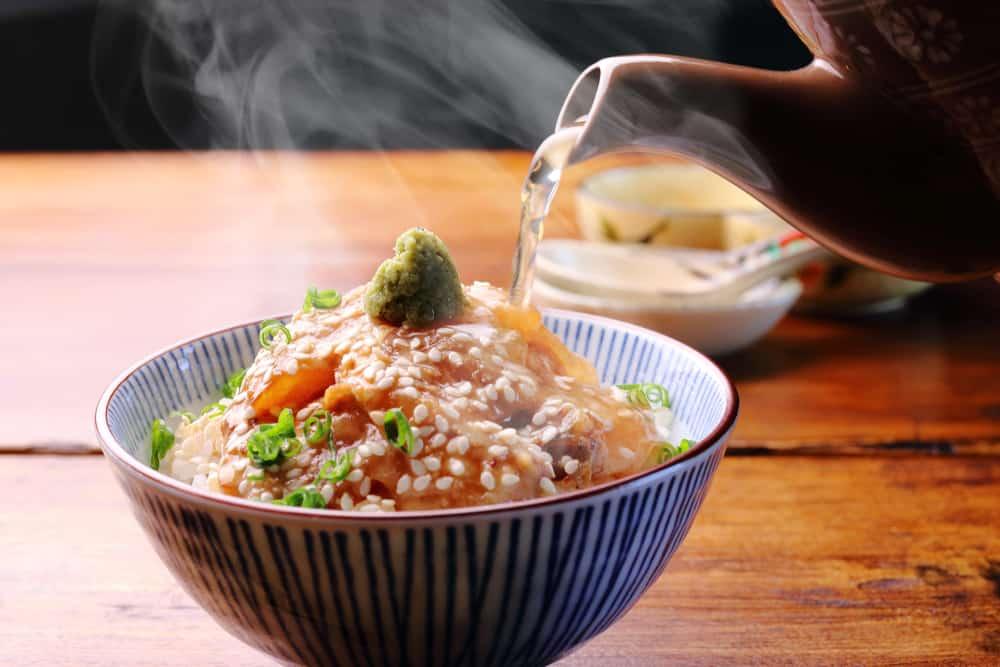 Ochazuke rice dish at Umami Cafe in Portland Japanese Garden