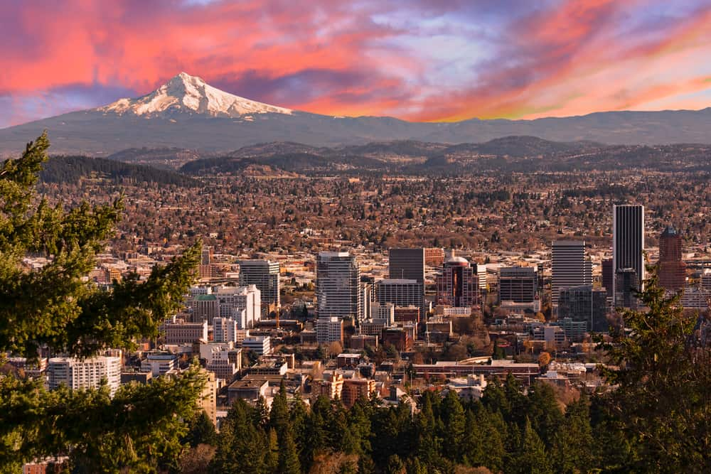 The city of Portland at sunset
