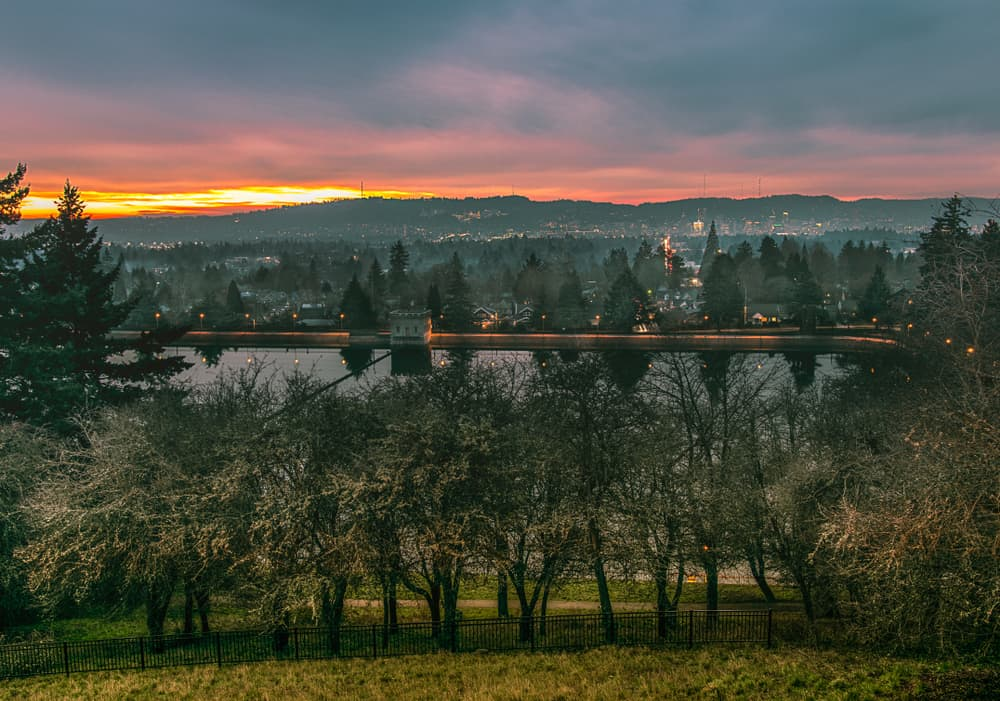 View of Mount Tabor in Portland, OR