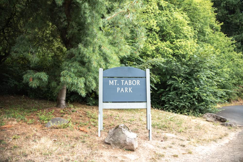 Mt. Tabor Park sign in Mount Tabor, Portland, OR